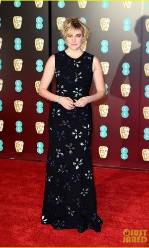 BAFTAs 2018, tapete vermelho, celebridades, looks, vestidos longos, moda, estilo, premiação, time's up, red carpet, celebrities, fashion, style, outfits, gowns, greta gerwig