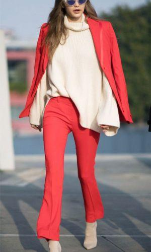 vermelho e nude, combinação de cores, look, moda, estilo, inspiração, red and nude, color combination, outfit, inspiration, fashion, style, gigi hadid