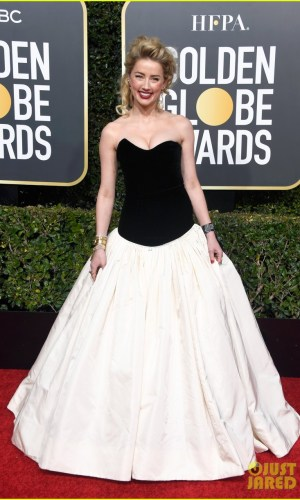 golden globes 2019, golden globes, awards season, red carpet, fashion, look, gown, tapete vermelho, premiação, moda, look, vestido longo, hollywood, amber heard