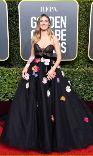 golden globes 2019, golden globes, awards season, red carpet, fashion, look, gown, tapete vermelho, premiação, moda, look, vestido longo, hollywood, heidi klum