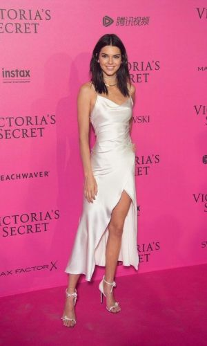 kendall jenner with a cowl neck dress, trend