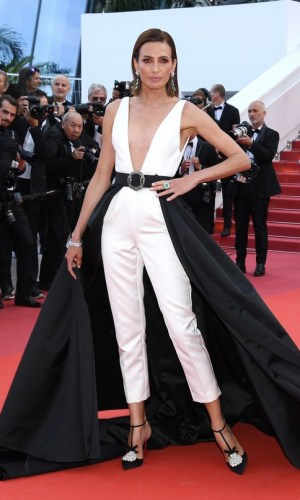 nieves alvarez at the 2019 cannes film festival red carpet, black and white jumpsuit