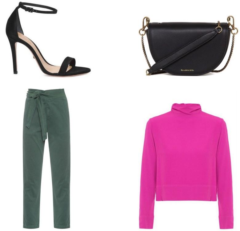 blusa básica rosa, um item e cinco looks, look jantar calça sarja verde