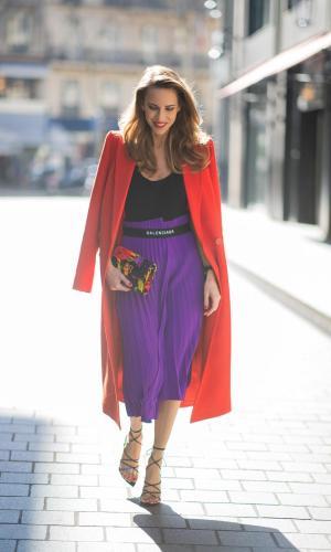 roxo e vermelho, looks, color block, purple and red