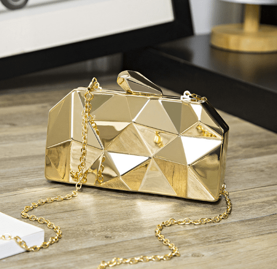 Gold bag front view geometric