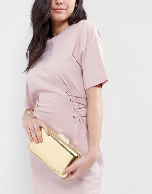 Gold clutch bag by dune