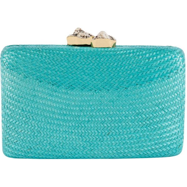 turquoise colored clutch bag