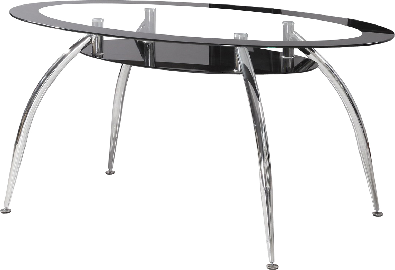 black dining room chairs with chrome legs hospital that convert to beds soho modern oval table edged glass