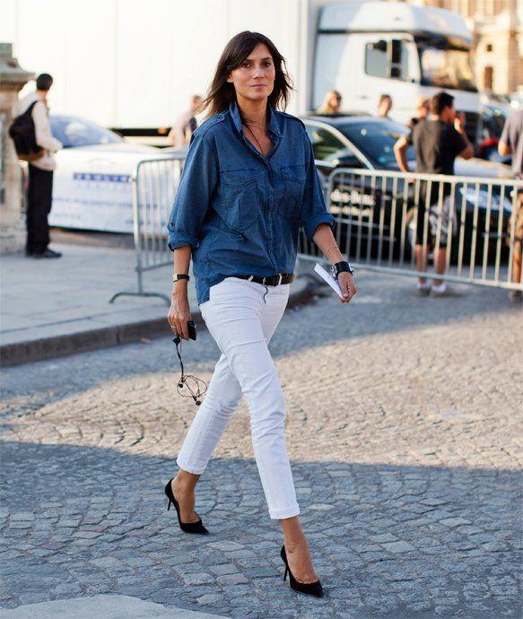 Emanuelle Alt si un outfit denim integral
