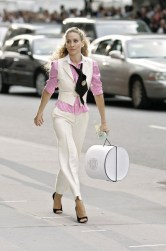 Carrie Bradshaw In Pink & White Striped Buttoned Down Blouse, White Vest, White Ankle Length Dress Pants, Black Tie with Gold Brooch & Black Open Toe Heels