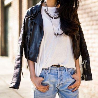 Rock style boyfriend jeans