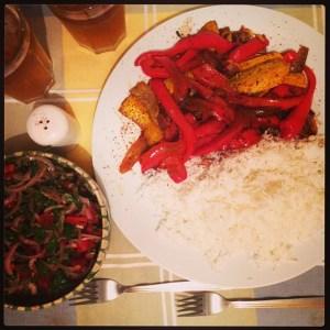 Zucchini cu ardei capia in sos de soia si orez basmati
