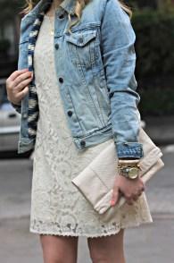 Jacheta de blugi cu rochie de dantela