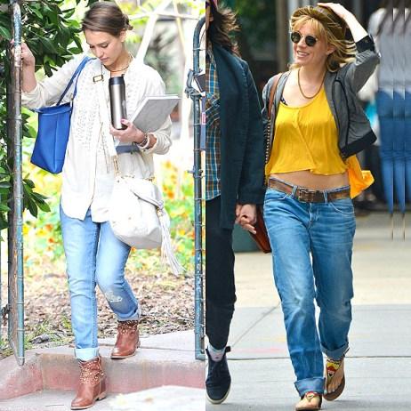 Bohemian style boyfriend jeans