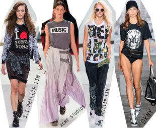 Tricouri de inspiratie vintage, largi cu mesaje, purtate cu fuste Carrie Bradshaw style