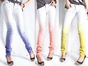 Vopseste jeansii albi slim in culori tari