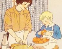 Ilustrata vintage - cum sa faci placinta cu copilul! Ocupatia in sine cred ca e vintage, ilustratia am dubii...