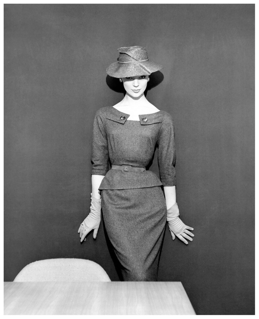 ivy-nicholson-in-grey-flannel-two-piece-dress-and-straw-hat-by-pierre-clarence-photo-by-georges-dambier-nouveau-femina-march-1954