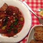 Caponata sau tocanita siciliana de vinete cu masline verzi