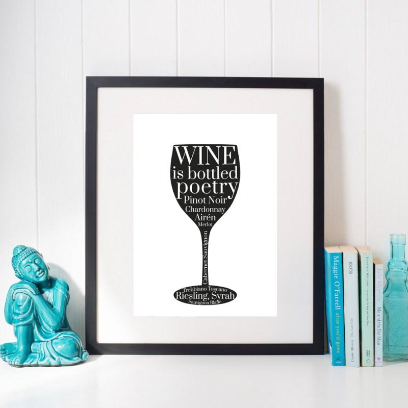 Affisch vinglas svart
