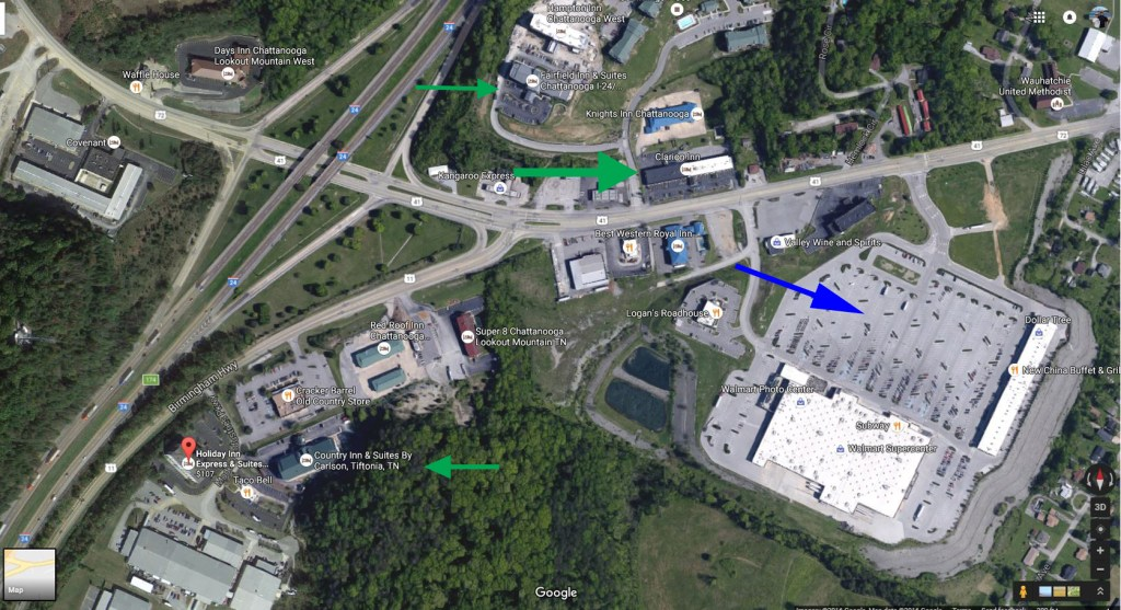 Locations for Pilgrimage hotels and meetup spot  in relation to I-24 Exit 174