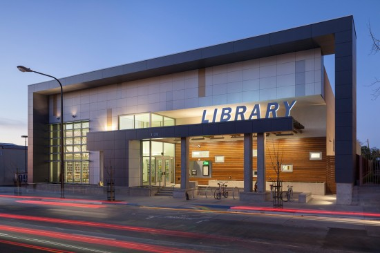 The West Berkeley Public Library at dusk. (Photo by Mark Luthringer)