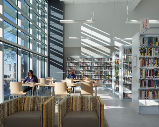 Interior view of the NZE West Berkeley Public Library designed by Harley Ellis Devereaux. (Photo by Mark Luthringer)