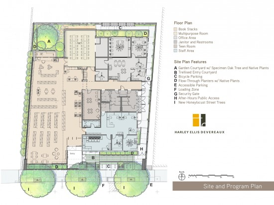 Site and Floor Plan of the West Berkeley Public Library. (Image courtesy Harley Ellis Devereaux)