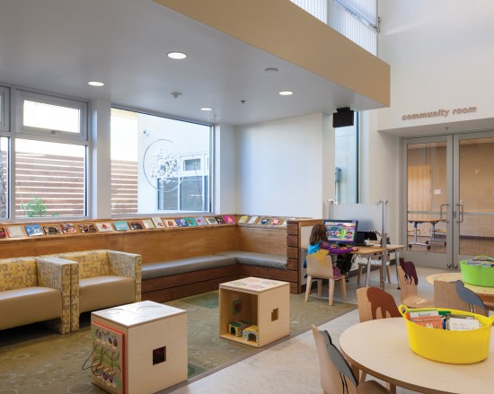 Plenty of natural daylighting provides sufficient lighting in the West Berkeley Public Library. (Photo by Mark Luthringer)