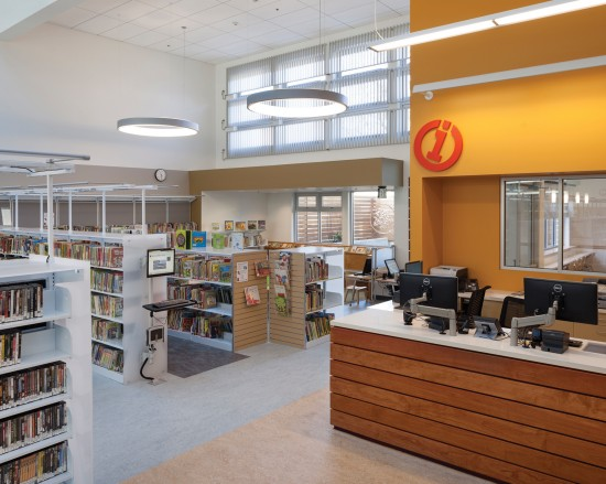 Interior view of clerestory windows in the West Berkeley Public Library. (Photo by Mark Luthringer)