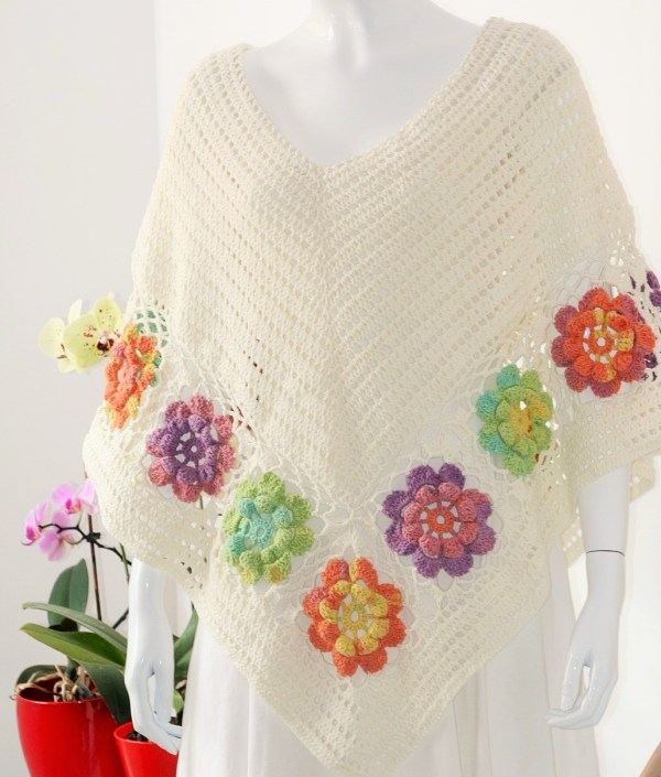 Poncho de dama, crosetat manual, tutorial