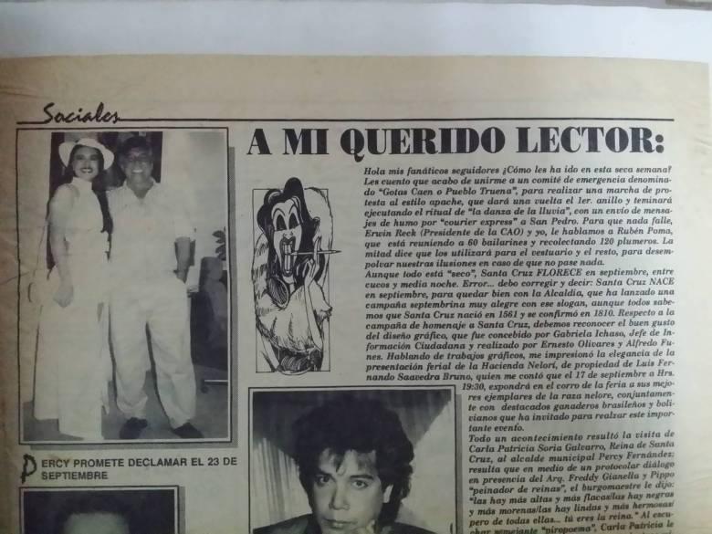 Nota de la sección Sociales del diario El Deber, en 1994