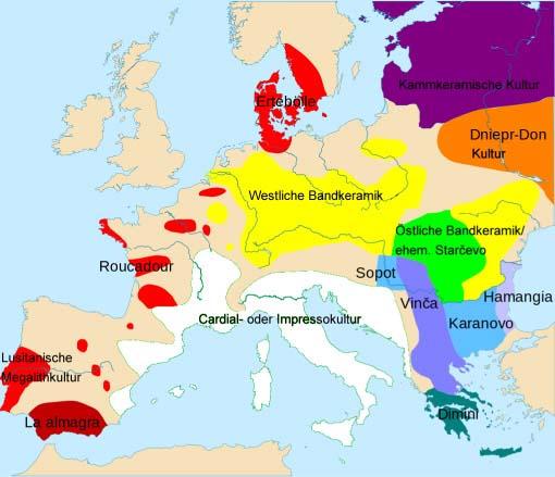 Karte Jungsteinzeit in Europa