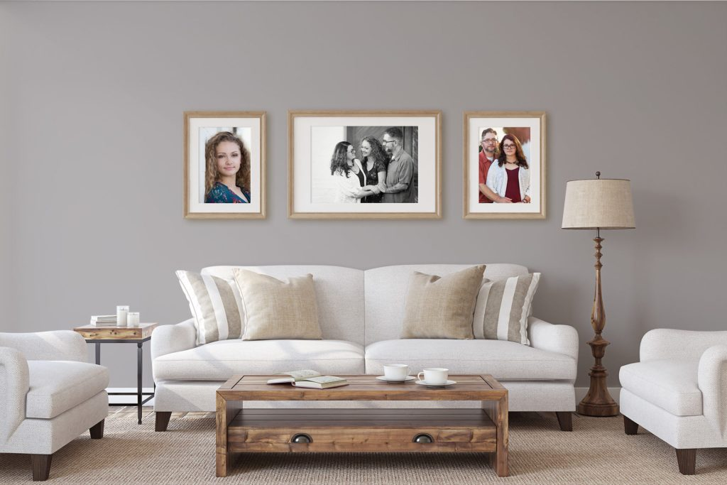 Living room decorated with family portraits