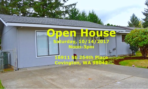 Open House, Saturday Noon-3pm @ 16911 SE 254th Pl, Covington