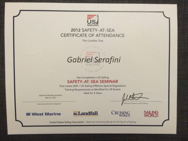 Safety at Sea certificate