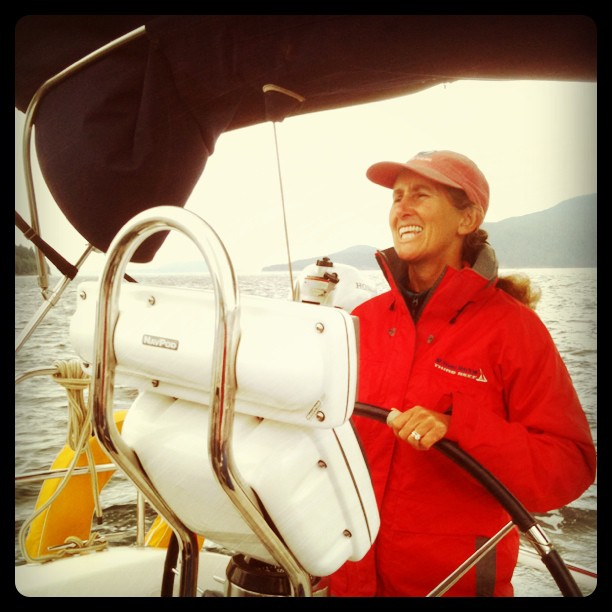 Anna Lisa taking a turn at the helm