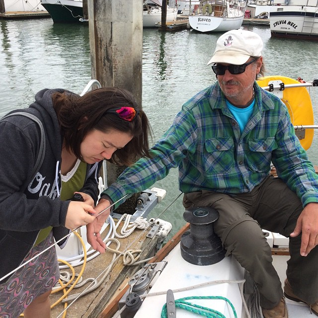Bob getting his Sea Star thumbnail painted. Spinnaker Cup ocean race to Monterey today!