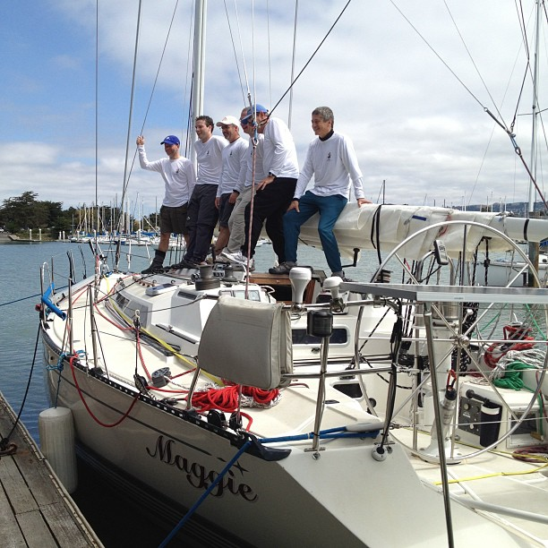 Crew of Maggie getting ready to leave for the Pacific Cup race to Hawaii