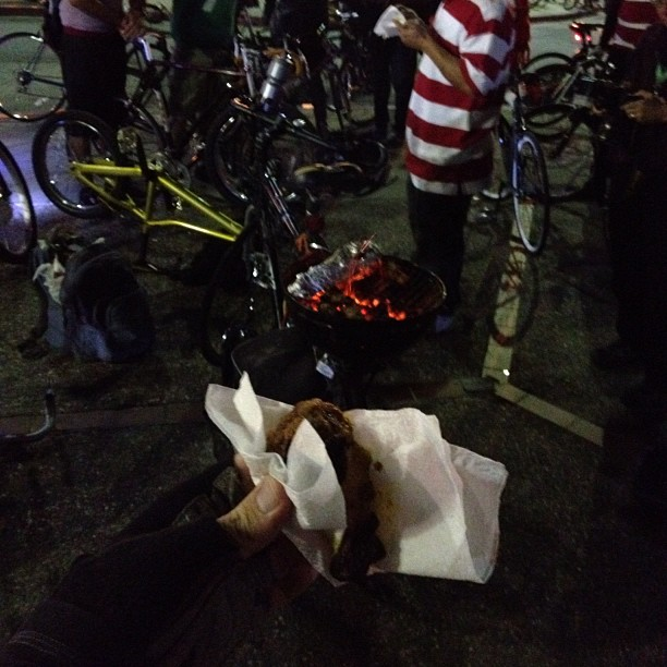 Delicious bike-barbecued chicken wing at East Bay Bike Party (Where's Waldo theme)