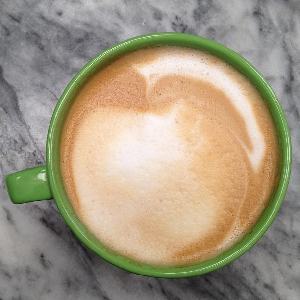 Lime green mug latte