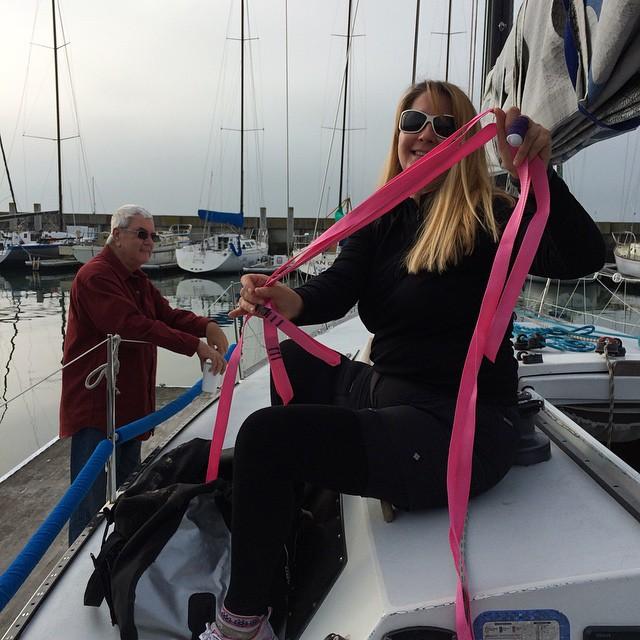 Lori got pink sail ties for her birthday