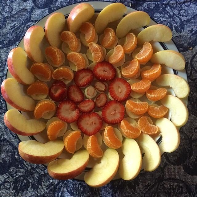 Mark made me a lovely fruit spiral for breakfast