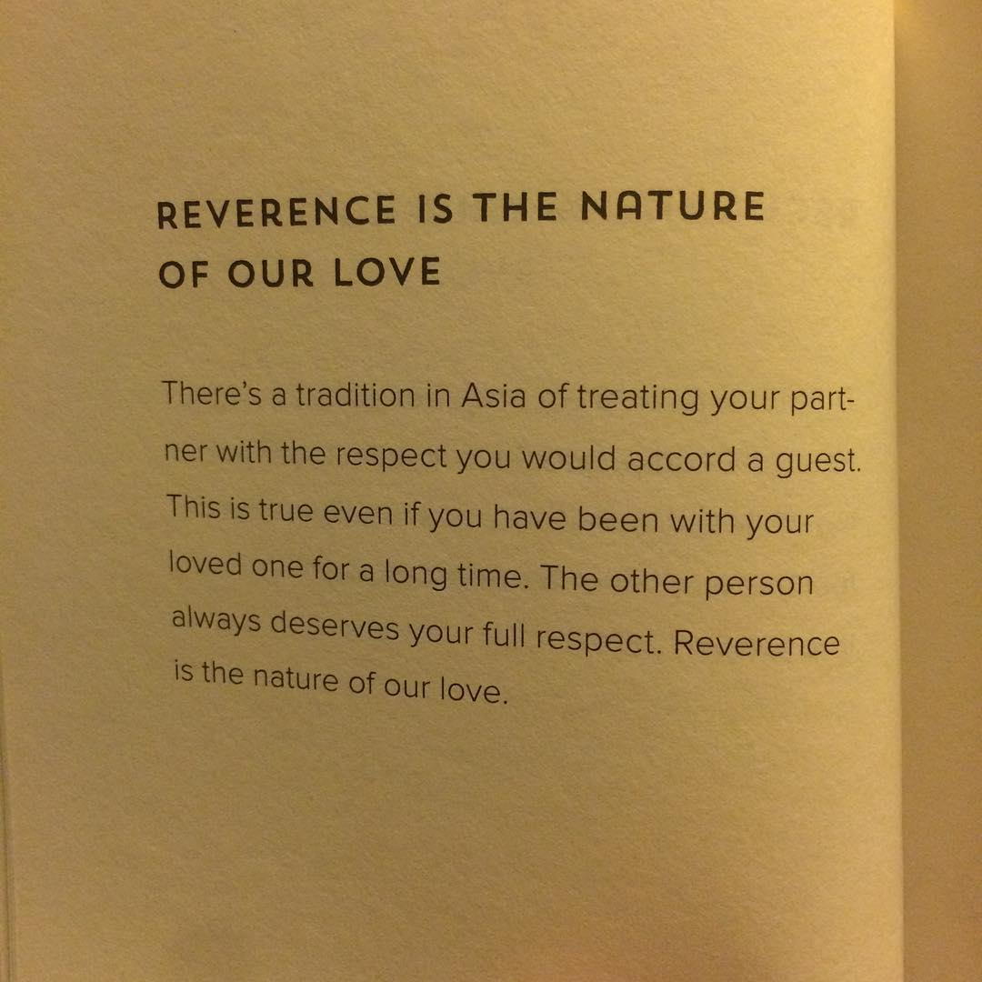Reverence is the nature of our love