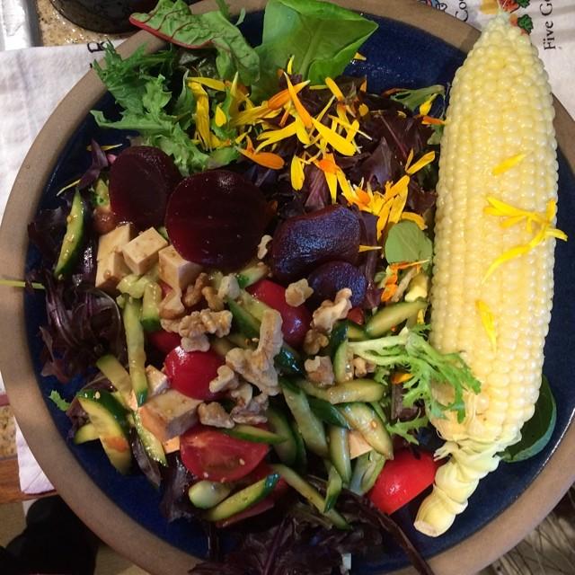 Summer farmers market salad dinner