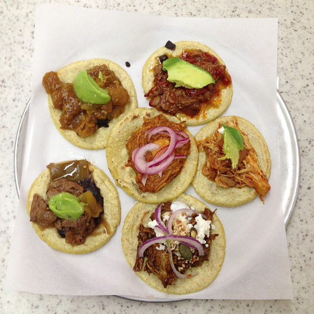 Taco sampler at the best taco place in Los Angeles. :D