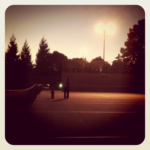 Tennis with the Wallaces at the community center