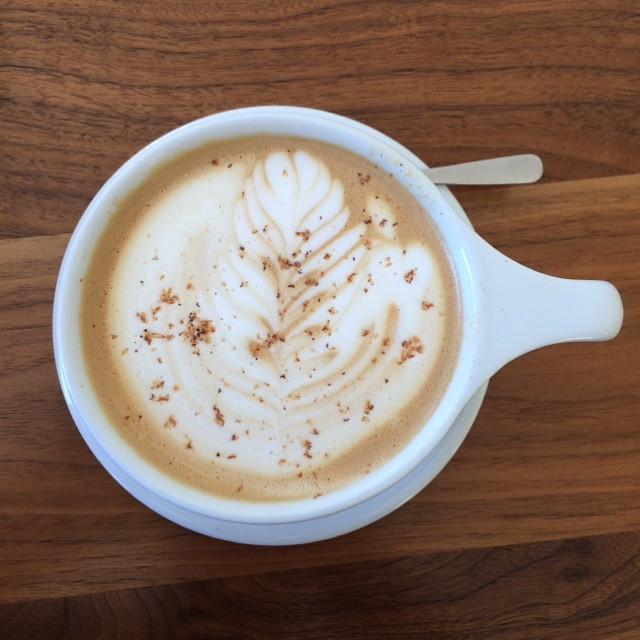 "The ""Bangkok"" - sweetened condensed milk latte with fresh ground nutmeg."