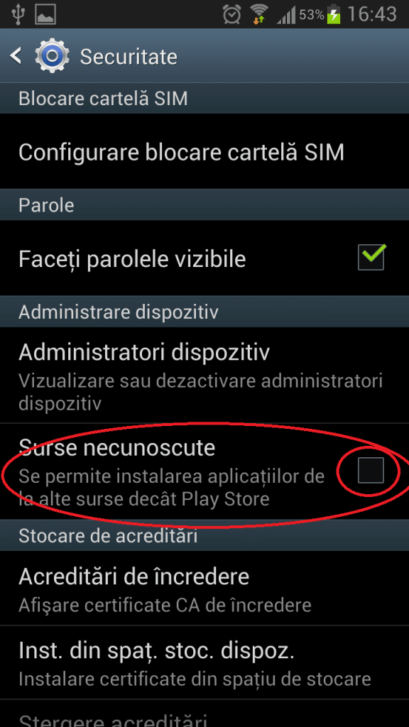 Instalare iGO pe Android - bifare instalare aplicatii din surse necunoscute