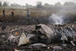 Emergencies Ministry members walk at the site of a Malaysia Airlines Boeing 777 plane crash near the settlement of Grabovo in the Donetsk region
